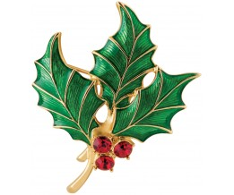 Gold Plated Holly Brooch With Austrian Crystals