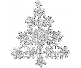 Rhodium Plated Snowflake Christmas Tree Brooch With Austrian Crystals