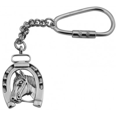 Horseshoe And Head Key Ring Sterling Silver