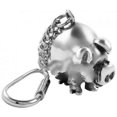 Pig Key Ring Sterling Silver