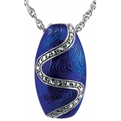 Blue Enamel And Marcasite Pendant On Chain Sterling Silver