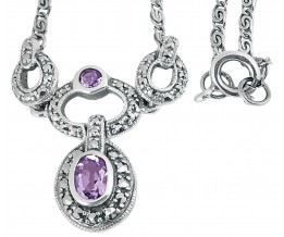 Sterling Silver Marcasite And Amethyst Victorian Style Necklace