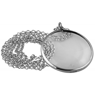 Plain Magnifying Glass Pendant On Chain Sterling Silver
