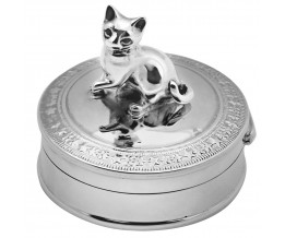 Sterling Silver Cat Pill Box