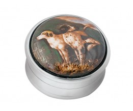 Sterling Silver Hunting Dogs Picture Pill Box