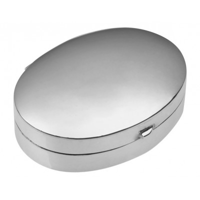 Sterling Silver Medium Plain Oval Hinged Pill Box