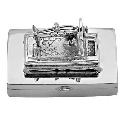 Sterling Silver Sewing Machine Pill Box