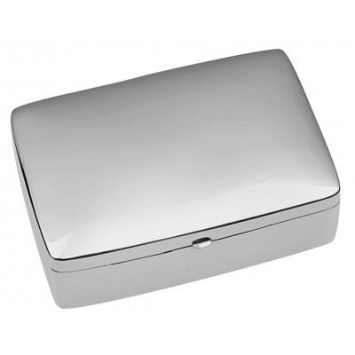 Sterling Silver Large Plain Rectangular Hinged Pill Box