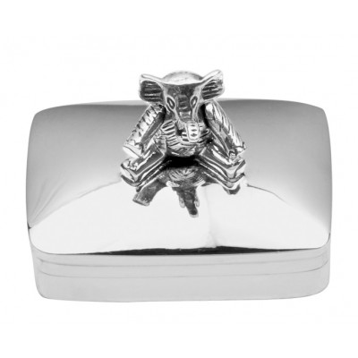Sterling Silver Pill Box With Moving Elephant
