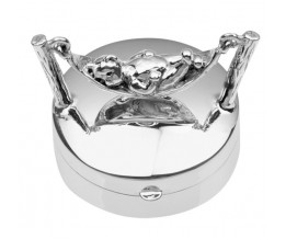 Sterling Silver Pill Box With Teddy Bear on Hammock
