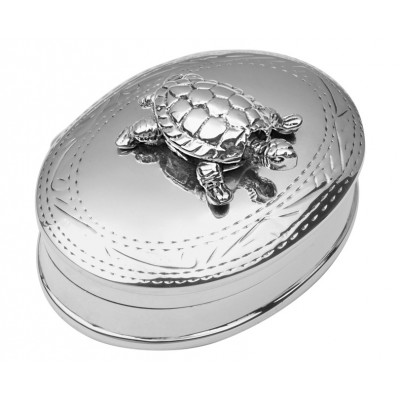 Sterling Silver Pill Box With Moving Turtle