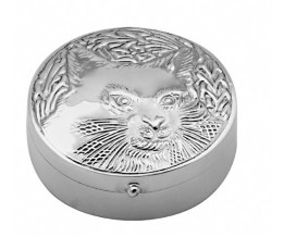 Round Sterling Silver Cat Pill Box
