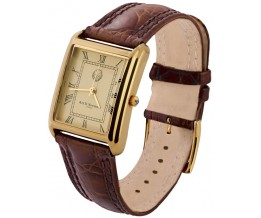 Gold Plated Sterling Silver (Vermeil) Men's Watch With Brown Leather Strap