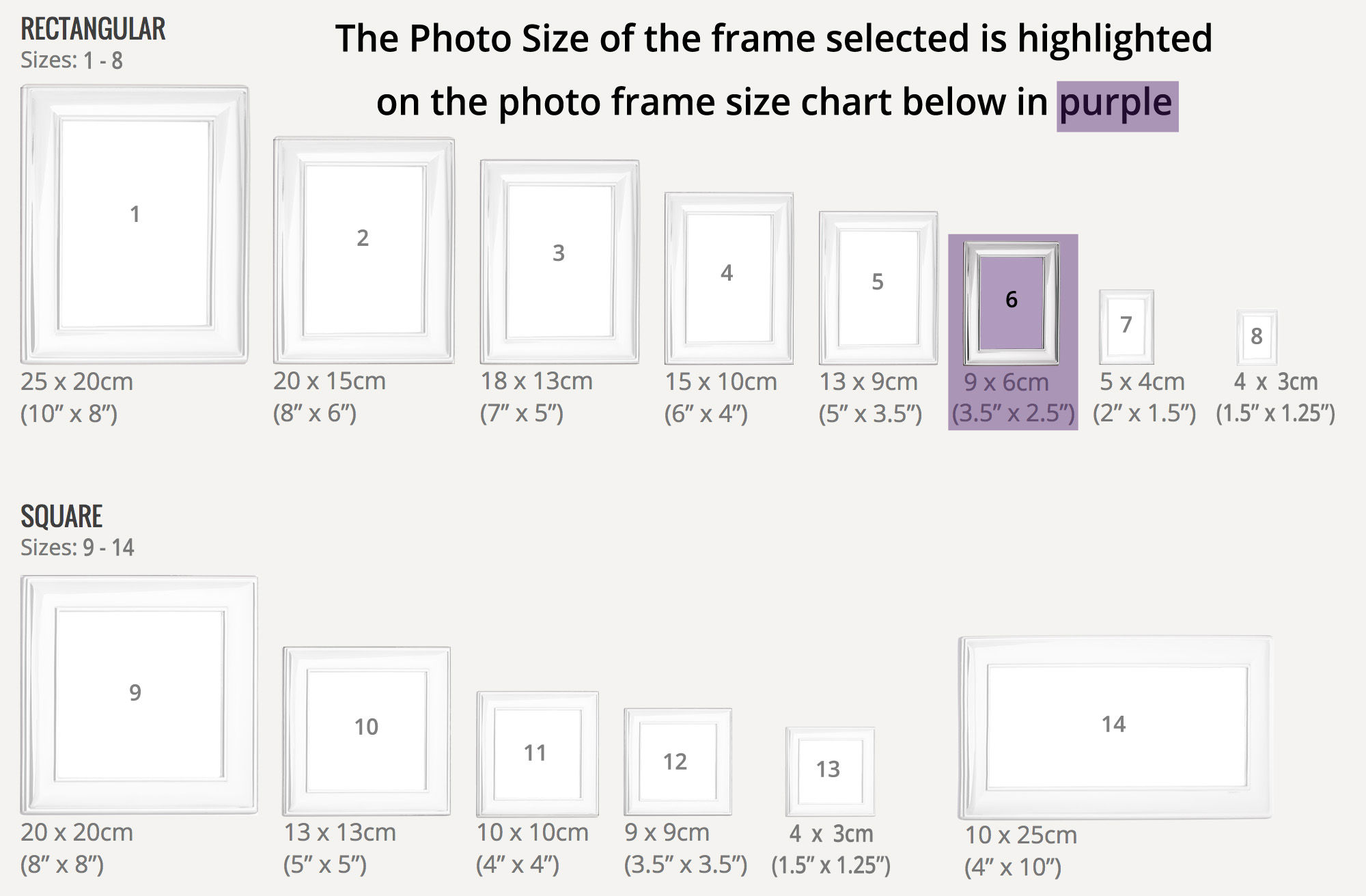 Rectangular Sterling Silver Photo Frame Size 6 - Holds Photo Size 9 ...